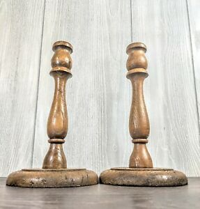 Beautiful-Set-of-2-farmhouse-Vintage-Wooden-Candle-Holders-9-5-034