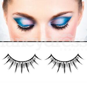 ba780959aff Baci Deluxe Black Eyelashes Silver Gems Fancy Dress New Years False ...