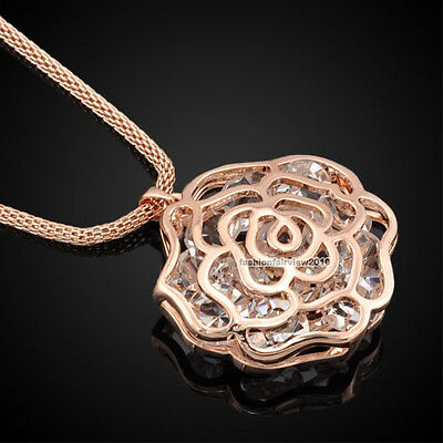 18K Rose Gold GP Clear Crystal Cameo Rose Flower Pendant Long Necklace XN019A