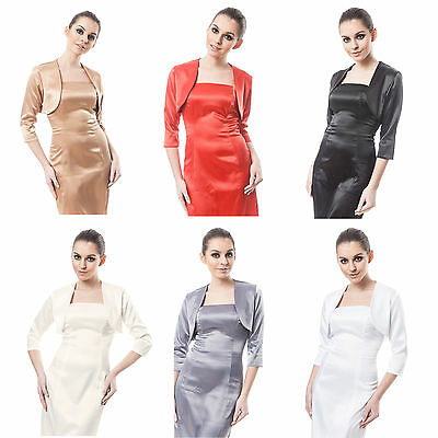Besorgt New Women Wedding Satin Bolero Shrug Jacket Stole 3/4 Length Sleeve Uk Size 6-28