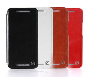 online store 8d4ae 0f546 Details about GENUINE HOCO HTC ONE M7 HAND MADE REAL LEATHER FLIP STYLE  FOLDING CASE COVER