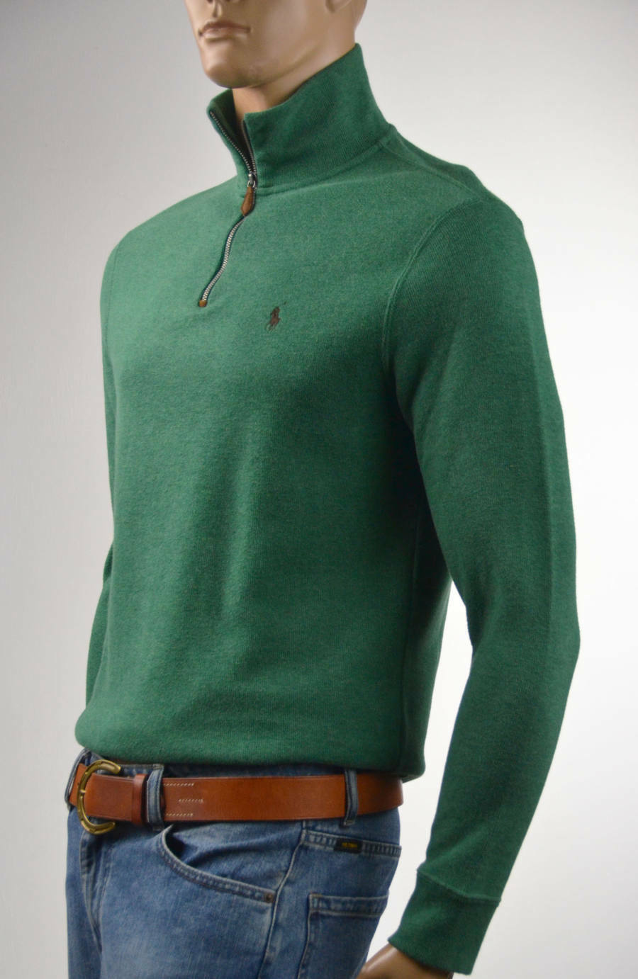 Ralph Lauren French-Ribbed Green Half-Zip Sweater Brown Pony -Small-NWT