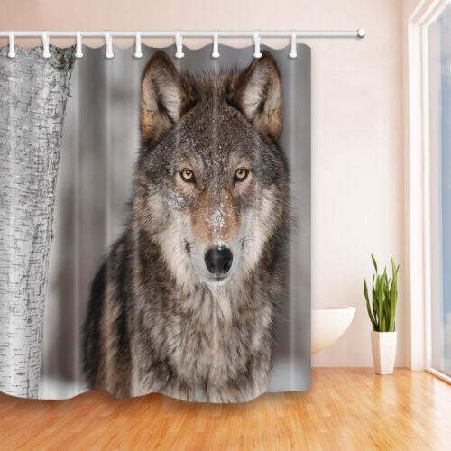 The Snow Wolf  Theme Waterproof Fabric Home Decor Shower Curtain Bathroom Mat