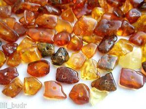 Poliert Naturbernstein gebohrt auffädeln 20 g  ( 180 - 200 Stücke )