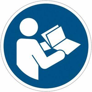 """Cartelli adesivi di obbligo ISO 7010 """"Leggere il manuale di istruzioni"""" M002"""