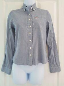Short-femme-hollister-shirt-Taille-XS-Bleu-Blanc-a-rayures-a-manches-longues-tres-bon-etat