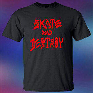 New Skate And Destroy Trasher Skateboard Game Men's Black T-Shirt Size S-3XL