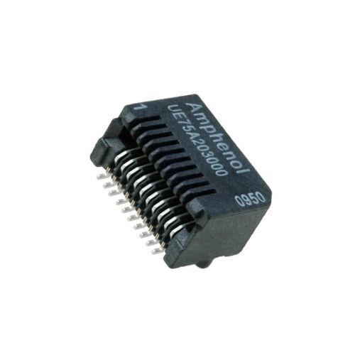 UE75-A20-3000T Socket SFP PIN20 angled gold plated 500mA 300V SMT
