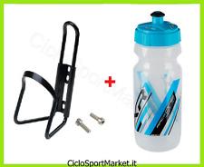 Portaborraccia + Borraccia in PE AZZURRA 600 ml bici Mountain Bike Corsa Strada
