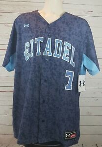 Citadel-Bulldogs-NCAA-Camo-Stitched-Under-Armour-Baseball-Jersey-Size-46