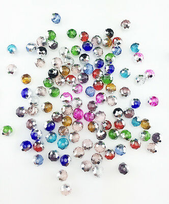NEW Jewelry Faceted 100 pcs Silver Mix #5040 3x4mm Roundelle Crystal Beads BA21
