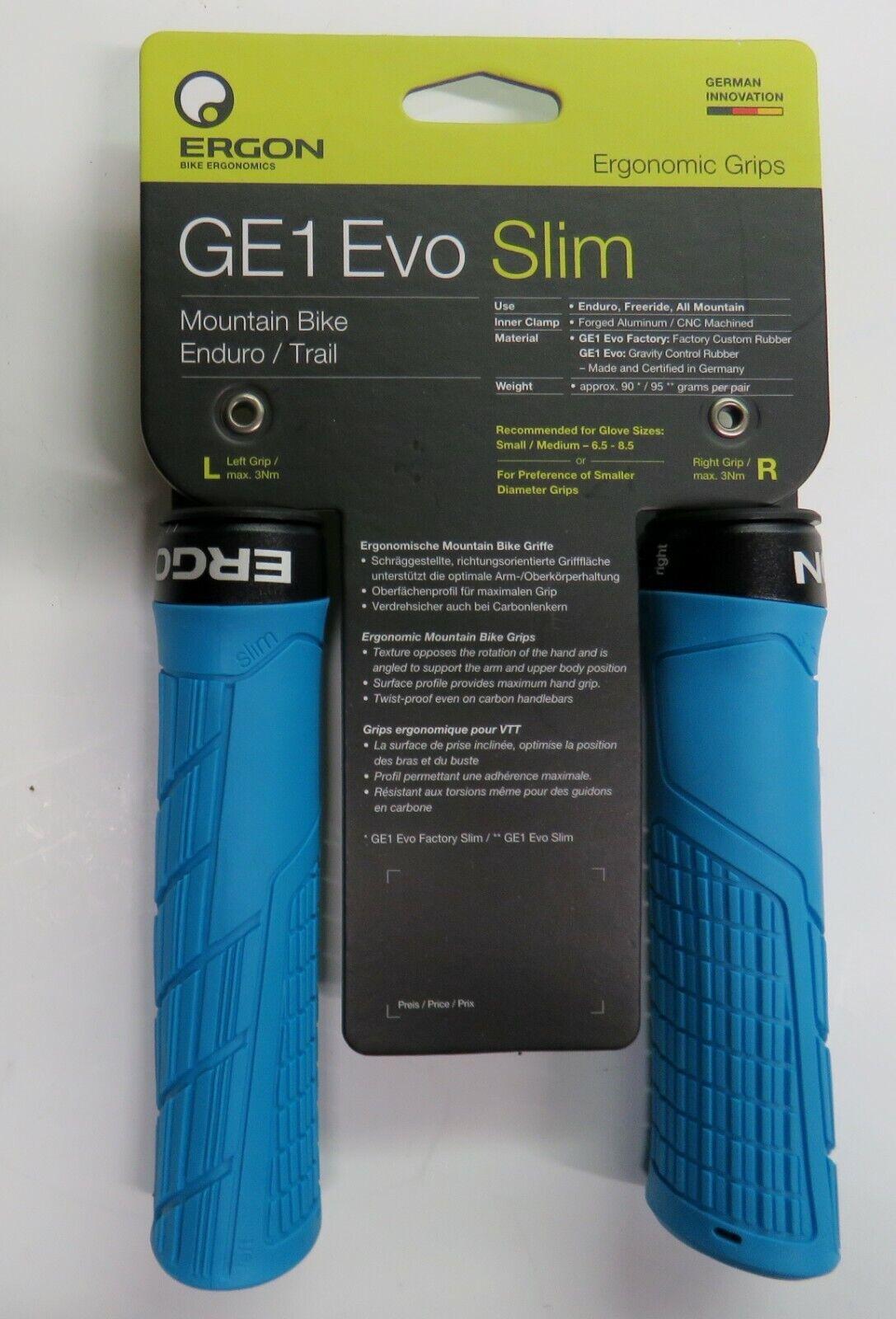 7 Color Options GE1 Evo Ergonomic Lock-on Bicycle Handlebar Grips Regular or Slim Fit for Mountain Ergon Trail and Enduro Bikes