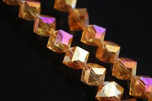 10pcs-10mm-Diagonal-Cube-Square-Faceted-Crystal-Glass-Loose-Beads-Rose-Gold