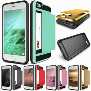 Slim-Card-Holder-Armor-Wallet-Phone-Cover-Case-For-iPhone-8-7-6s-6-Plus-5S-SE