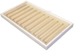 Jewelry Display Tray White Jewelry Tray w// Beige Liners 10 Section Beige Insert