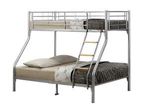 Birlea Nexus Metal Bunk Bed Silver Frame Triple Sleeper Sleeps
