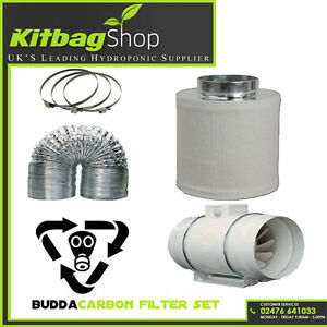4-034-In-Line-Fan-Carbon-Filter-amp-Duct-Kit-Hydroponic-Grow-Room-Tent-Ventilation