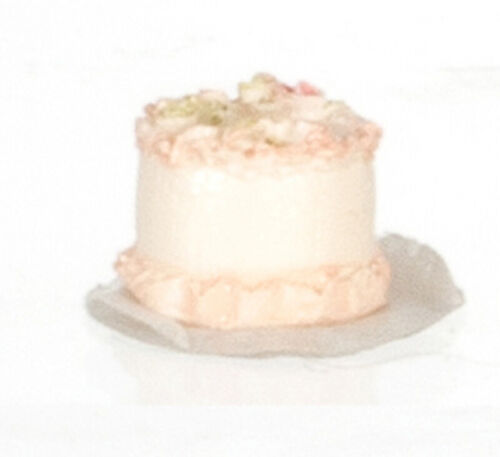 Dollhouse Miniature Half Scale Cake with White Icing and Roses by Falcon