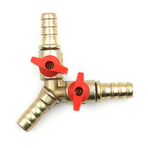3-Way-Tee-Brass-Y-Shut-off-Ball-Valve-3-8-034-10mm-Barb-Fuel-Gas-Oil-Valve-Clamp-RS
