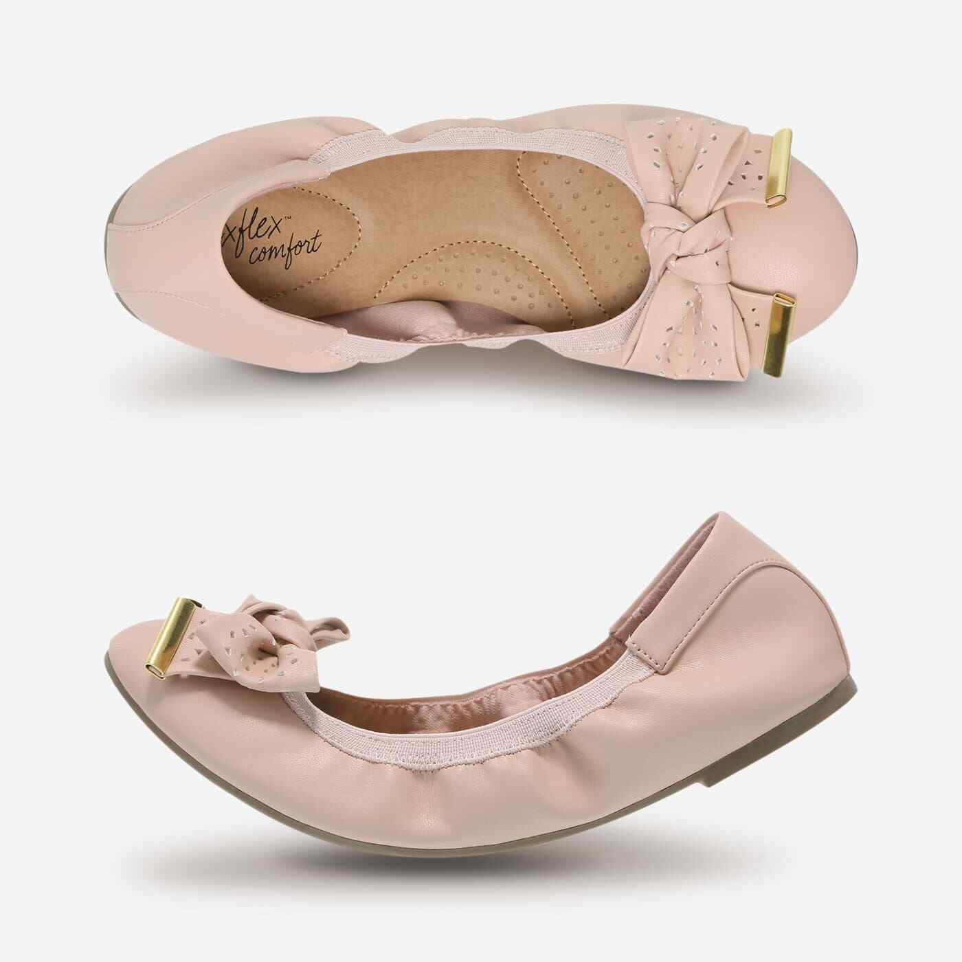 Dexflex Comfort Women's Casey Bow Scrunch Ballet Flat shoes Smooth bluesh Pink