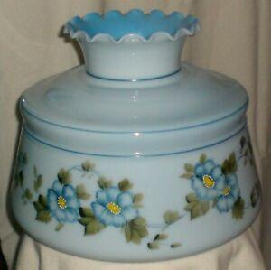Blue Glass Hand Painted Hurricane Lamp, Blue Hurricane Lamp Shade