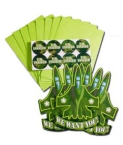 Camouflage Military Army Greens Party Supplies Shaped Folded Invitations 8pk