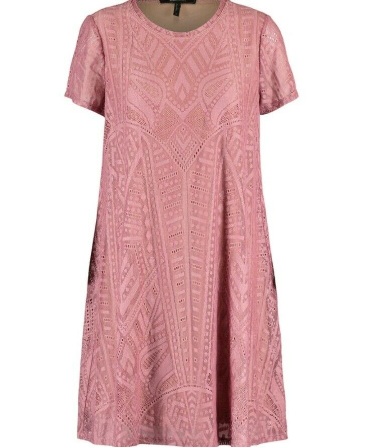 BNWT - BCBG MAX AZRIA - LACE CASUAL DRESS - DUSKY pink - Size S - RRP