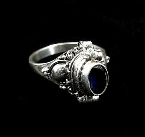 Sterling Silver Bali Hand-Made Round Black Onyx Poison Ring