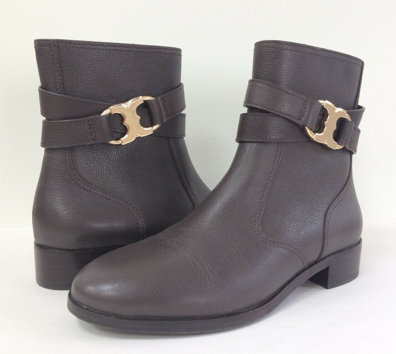 New Tory Burch Women's 7 8.5 Gemini Link Leather Ankle Boot Bootie Coconut Brown