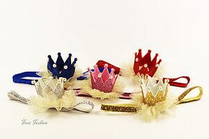 Stirnband-Haarband-Haarschmuck-Krone-Glitzer-Perlen-Geburtstag-Baby-Maedchen-K131