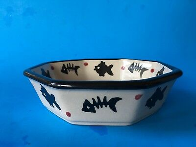 Amiable Unknown Maker Funny--cat Dish With Skeleton & Live Fish --cute-- Modern And Elegant In Fashion