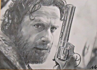 Original The Walking Dead Rick Grimes Aceo Card Graphite Drawing