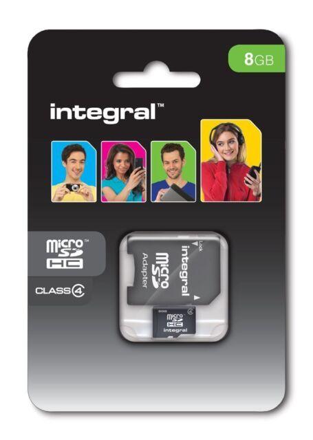 Integral 8GB Micro-SD SDHC Tf Tarjeta De Memoria Clase 4 Adaptador Para Móviles