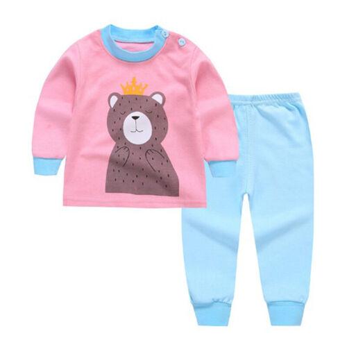 2pcs Garçons Filles Pyjamas enfants à manches longues Vêtements Set Nightwear Sleepwear Baby