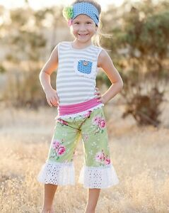 Giggle Moon NWT 2pc Floral Summer Set For Girls Size 6X