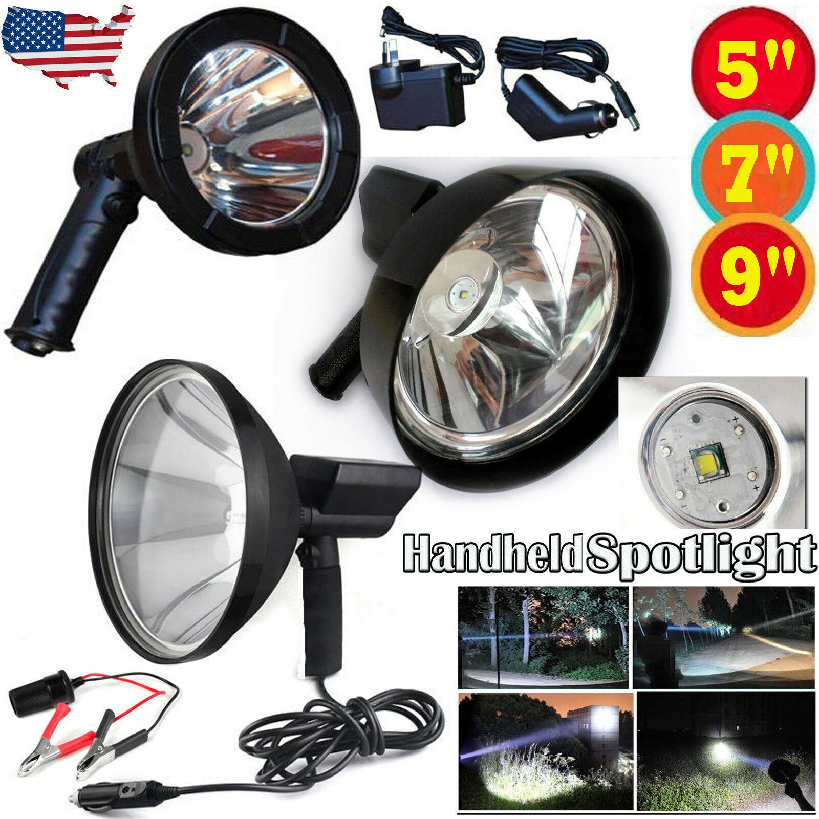 CREE LED 800W Rechargeable Spotlight Hunting Hand Held Torch Spot Light 80000lm