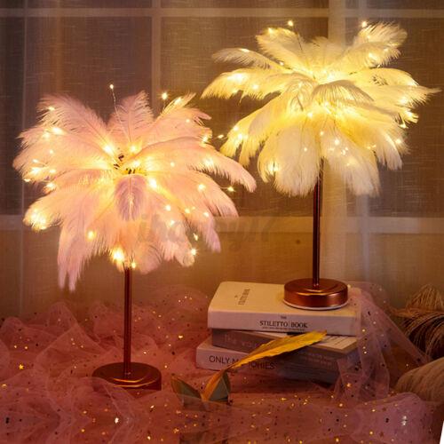 USB LED Schreibtischlampe Tischlampe Nachttischlampe Feather Tischleuchte Dekor