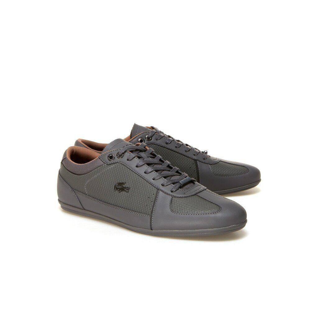 Lacoste  Men's Evara Leather Trainers Grey
