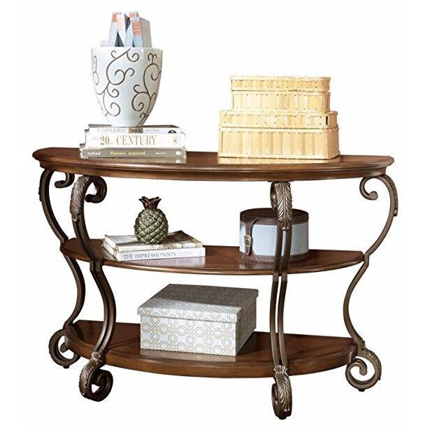Brown 2 Shelf Console Table Semi Circle