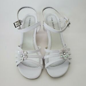 Girls Strappy White Sandals With 1.5