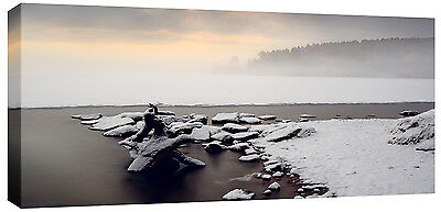 LARGE SNOW CANVAS FROZEN LAKE WINTER WALL  PICTURE 113 CM x 52CM deep frame 3cm