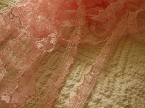 ancienne dentelle vintage rose nylon 5 mètres sur 1 cm A1