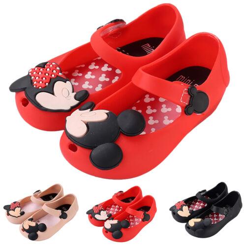 Kids Girls Toddler Summer Lovely Mickey Minnie Flat Jelly Shoes Beach Sandals
