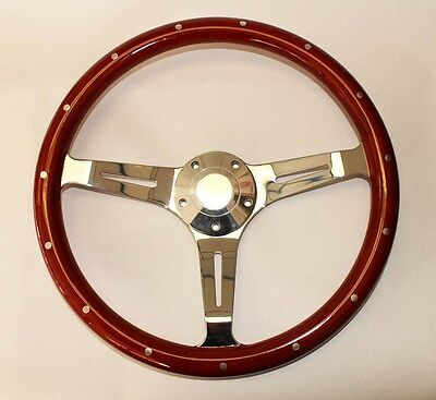 "1970's Dodge Dart Charger Demon Wood Steering Wheel 14"" Classic Style"
