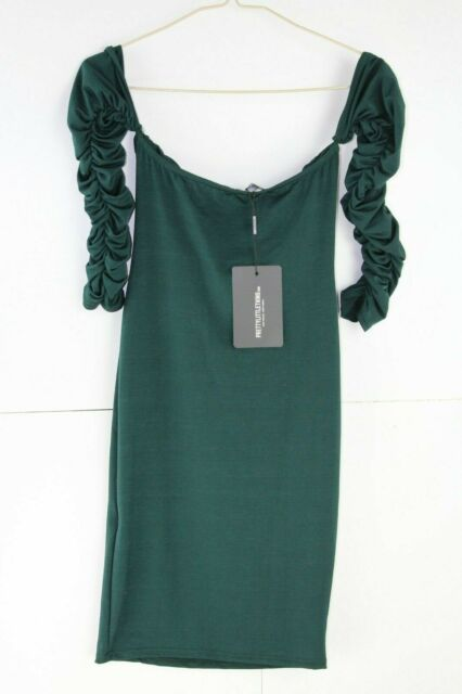 aac1a56a27 PRETTYLITTLETHING Emerald Green Bardot Bodycon Dress Size UK 8 Dh082 ...