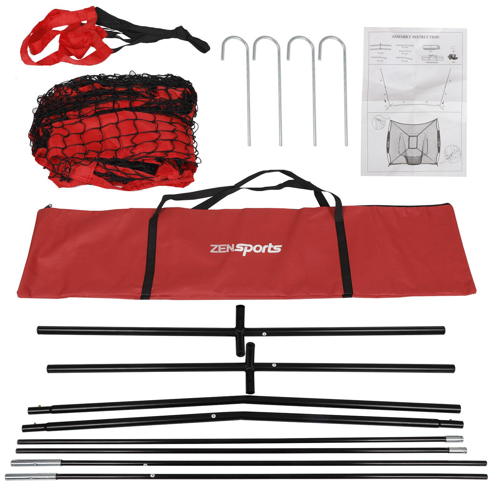 Height Adjustable Batting Tee 7x7 Baseball Training Net w// Strike Zone Bag