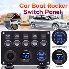 12V 24V Inline Fuse Box LED Rocker Switch Panel 2 USB Charger Socket Boat Marine