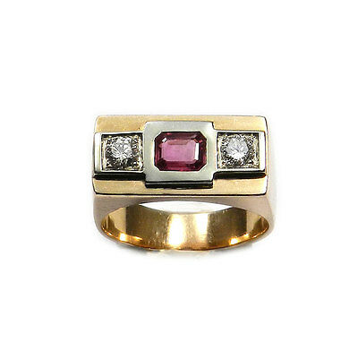 Art Deco Ring mit Rubin & 0.5 ct Diamanten 585 Rotgold & Platin Bandring um 1930