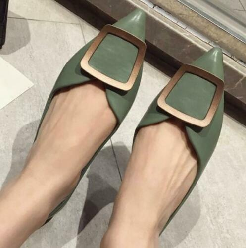 New Ladies Spring Button Metal Decor Light Pumps Flats Pointed Toe Slip-on Shoes