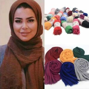 Women-Viscose-Maxi-Crinkle-Cloud-Hijab-Scarf-Shawl-Islam-Muslim-Warm-Solid-Color